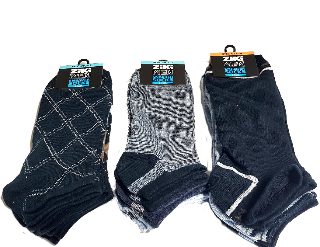 Men's sneaker socks 3 pairs sizes 39-46 ass.