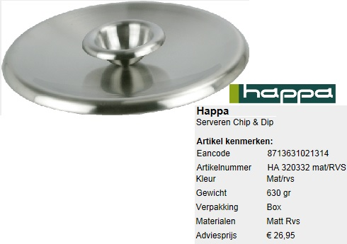 Chip and Dip bowl mat / stainless steel 32cm