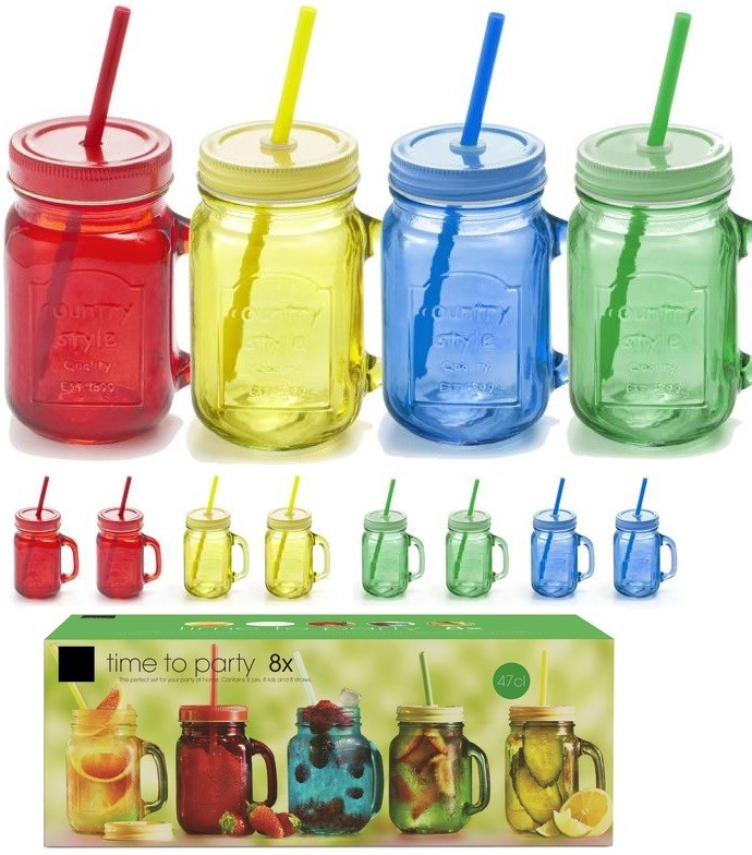 Glass drinking cup with lid and straw 470ml ass.